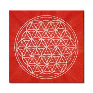 Blume des Lebens rot Keilrahmenbild Frontalbild Art 6