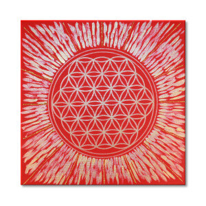 Blume des Lebens_rot_Keilrahmenbild_Frontalbild_Art-56
