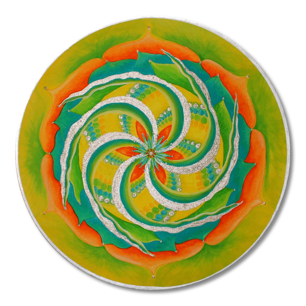 Mandala rot gelb grün silber Frontalbild Art 193