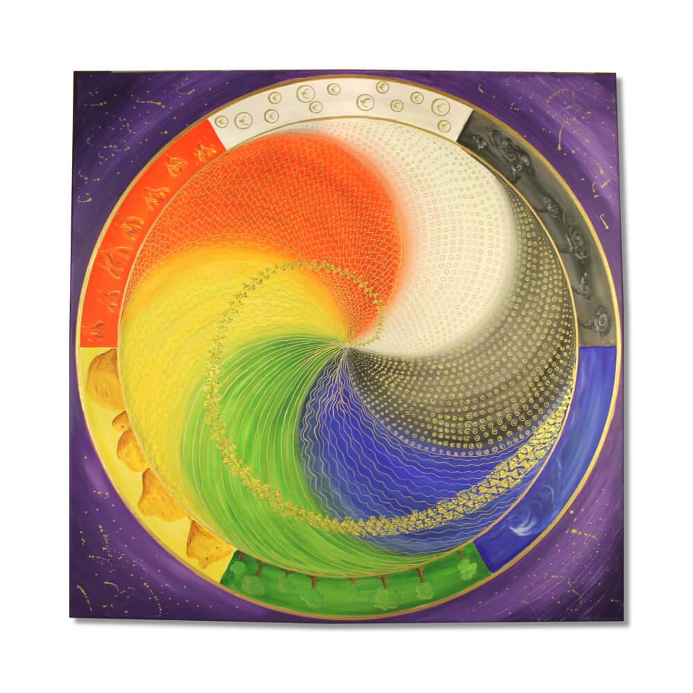 Wandbild Energiebild Mandala Elemente des Lebens Frontalbild